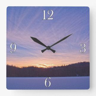 Sunset over Snow-covered Winter Lake & Trees Square Wall Clock