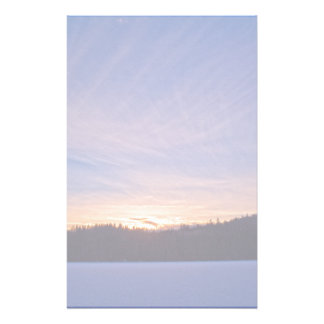 Sunset over Snow-covered Winter Lake & Trees Stationery