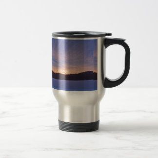 Sunset over Snow-covered Winter Lake & Trees Travel Mug