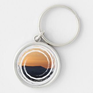 Sunset Over Snowy Mountains Keychain
