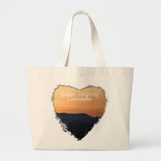 Sunset Over Snowy Mountains; Yukon Souvenir Canvas Bags