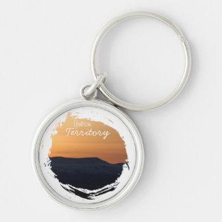 Sunset Over Snowy Mountains; Yukon Souvenir Keychain