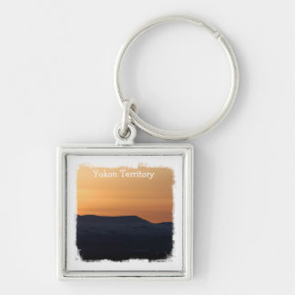 Sunset Over Snowy Mountains; Yukon Souvenir Key Chain