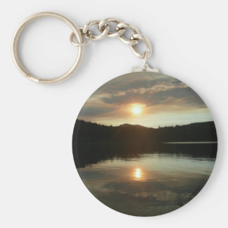 Sunset over Spring Valley Reservoir Basic Round Button Keychain
