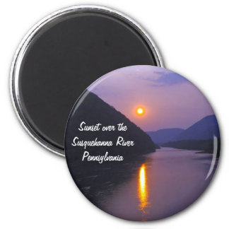 Sunset over Susquehanna River Pennsylvania 2 Inch Round Magnet