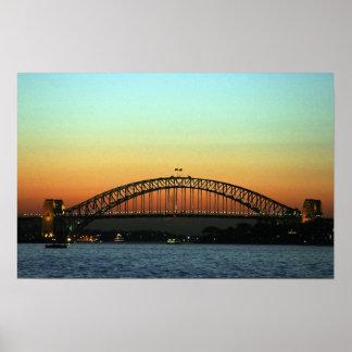 Sunset over Sydney Harbor Bridge, Australia Poster