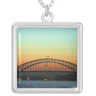Sunset over Sydney Harbor Bridge, Australia Square Pendant Necklace