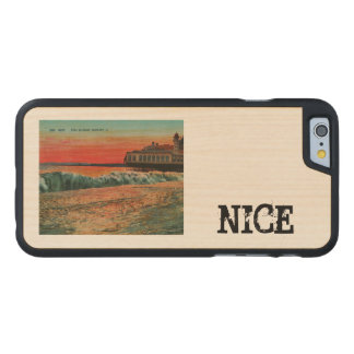 Sunset over the beach at Nice France Carved® Maple iPhone 6 Slim Case