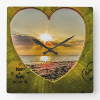 Sunset Over the Beach Square Wall Clock