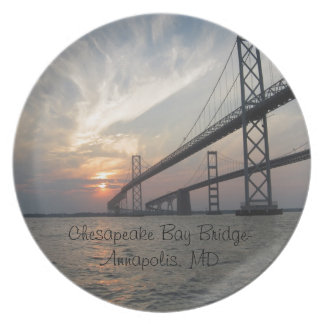 Sunset over the Chesapeake Bay Bridge Melamine Plate