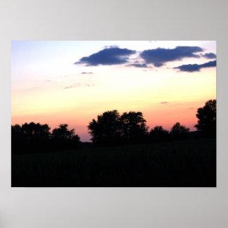 Sunset over the cornfield 2 By Peeka Print