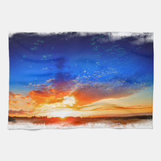Sunset over the English countryside. Kitchen Towel