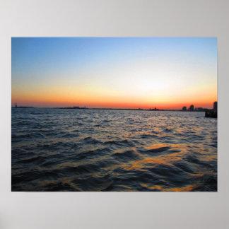 Sunset over the Hudson River Poster