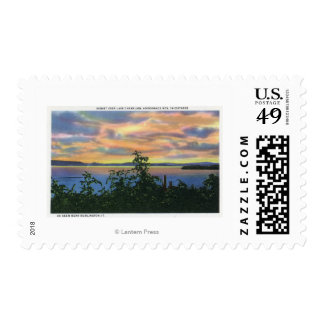 Sunset over the Lake, Adirondack Mts in Postage