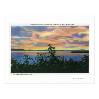 Sunset over the Lake, Adirondack Mts in Postcard