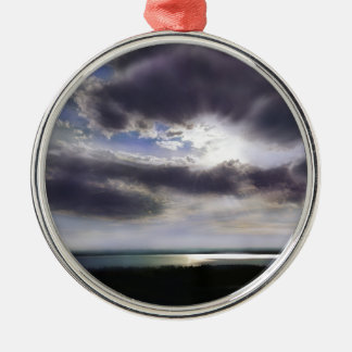 Sunset over the lake metal ornament