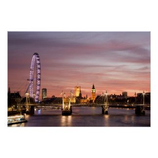 Sunset over the London Eye & Parliament Print