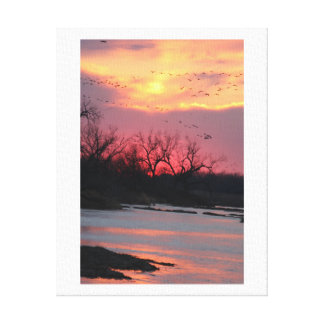 Sunset over the North Platte River Stretched Canvas Print