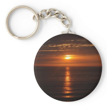 Beach Themed Sunset Over the Pacific Keychain
