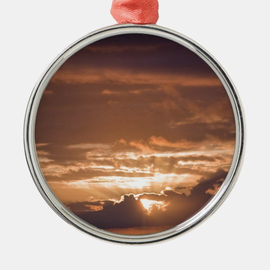 Sunset Over the Pacific Metal Ornament