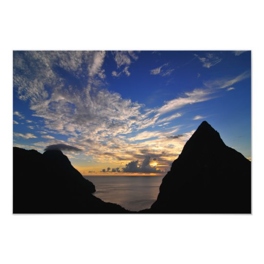 Sunset over the Pitons Photo Print