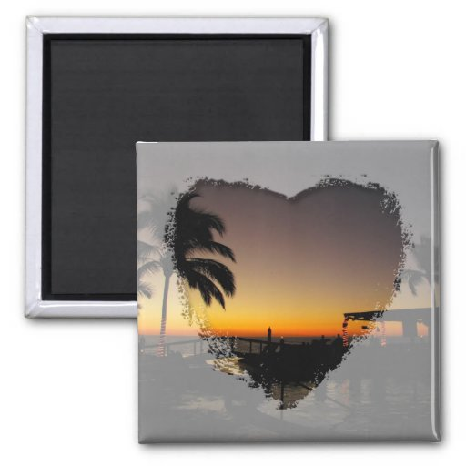 Sunset Over the Resort 2 Inch Square Magnet