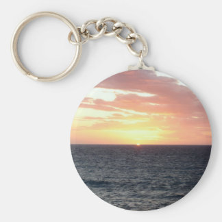 Sunset Over the Sea Basic Round Button Keychain