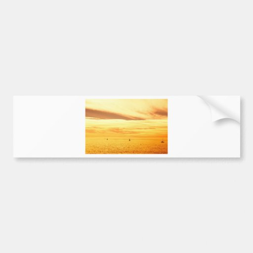 Sunset over the sea bumper stickers