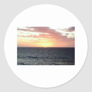 Sunset Over the Sea Classic Round Sticker