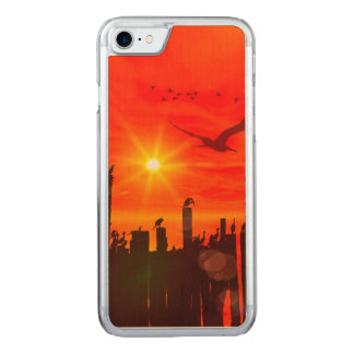 Sunset over the sea with birds carved iPhone 7 case