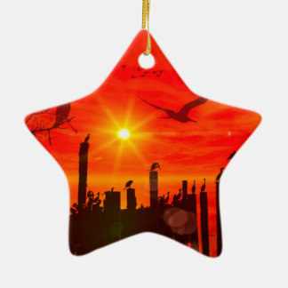 Sunset over the sea with birds ceramic ornament