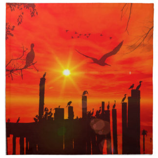 Sunset over the sea with birds cloth napkin