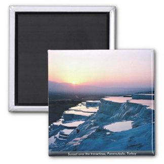 Sunset over the travertines, Pammukale, Turkey Magnet