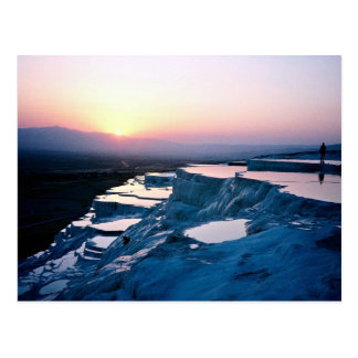 Sunset over the travertines, Pammukale, Turkey Postcard