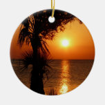 Sunset Over the Warm Water Christmas Tree Ornament
