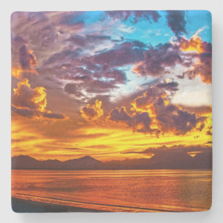 Sunset Over the Water Photography Stone Coaster