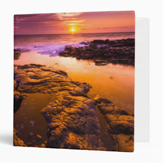 Sunset over tide pools, Hawaii 3 Ring Binder