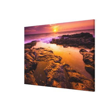 Beach Themed Sunset over tide pools, Hawaii Canvas Print