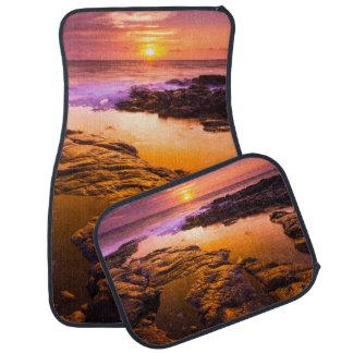Sunset over tide pools, Hawaii Car Mat