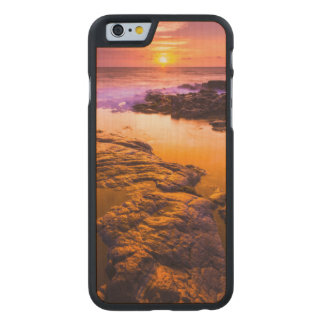 Sunset over tide pools, Hawaii Carved Maple iPhone 6 Slim Case