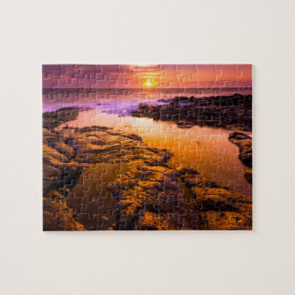 Sunset over tide pools, Hawaii Jigsaw Puzzle