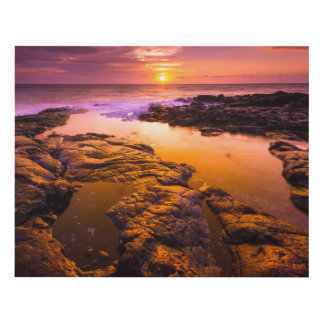 Sunset over tide pools, Hawaii Panel Wall Art