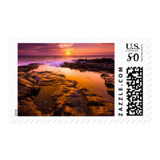 Sunset over tide pools, Hawaii Postage
