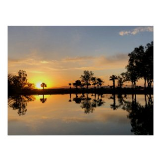 Sunset Over Tranquil Pond Poster
