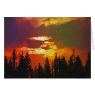 Sunset over treeline card