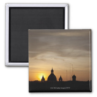 Sunset over Vatican rooftops, Rome, Italy 2 Inch Square Magnet
