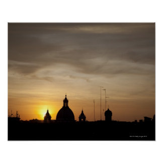 Sunset over Vatican rooftops, Rome, Italy Poster