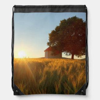 Sunset Over Wheat Field Drawstring Bag