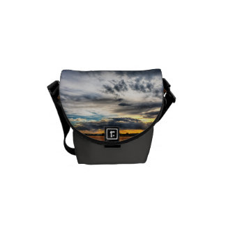 Sunset Over Wheat Fields Skyscape Messenger Bags