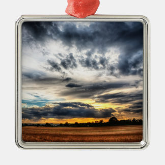 Sunset Over Wheat Fields Skyscape Metal Ornament